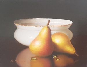 Ronald Berger Two Pears original still life oil painting for sale fruit