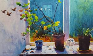 Richard Knight Autumn Window modern still life artwork for sale