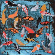 Paul Fearn Luminous Beings VI blue koi fish artwork for sale