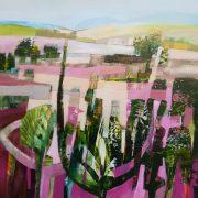 Celia Wilkinson Pink Haze cactus landscape painting for sale