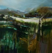 Celia Wilkinson Rooted dark abstract landscape for sale