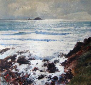 Richard Thorn Surf At Priest Cove cornish painting for sale