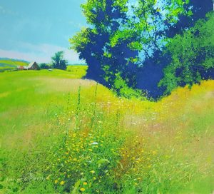 Richard Thorn Wyeth Country meadow painting for sale