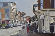 Andrew Hird Bridge Road, East Molesey, Autumn Sun for sale framed original oil painting