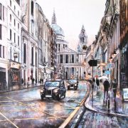 Alena Carvalho St Pauls Cabs greyscale cityscape for sale