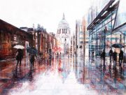 Alena Carvalho St Pauls Reflections rainy london art for sale