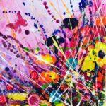 Tracey Thornton Rainbow Splash floral butterfly art for sale