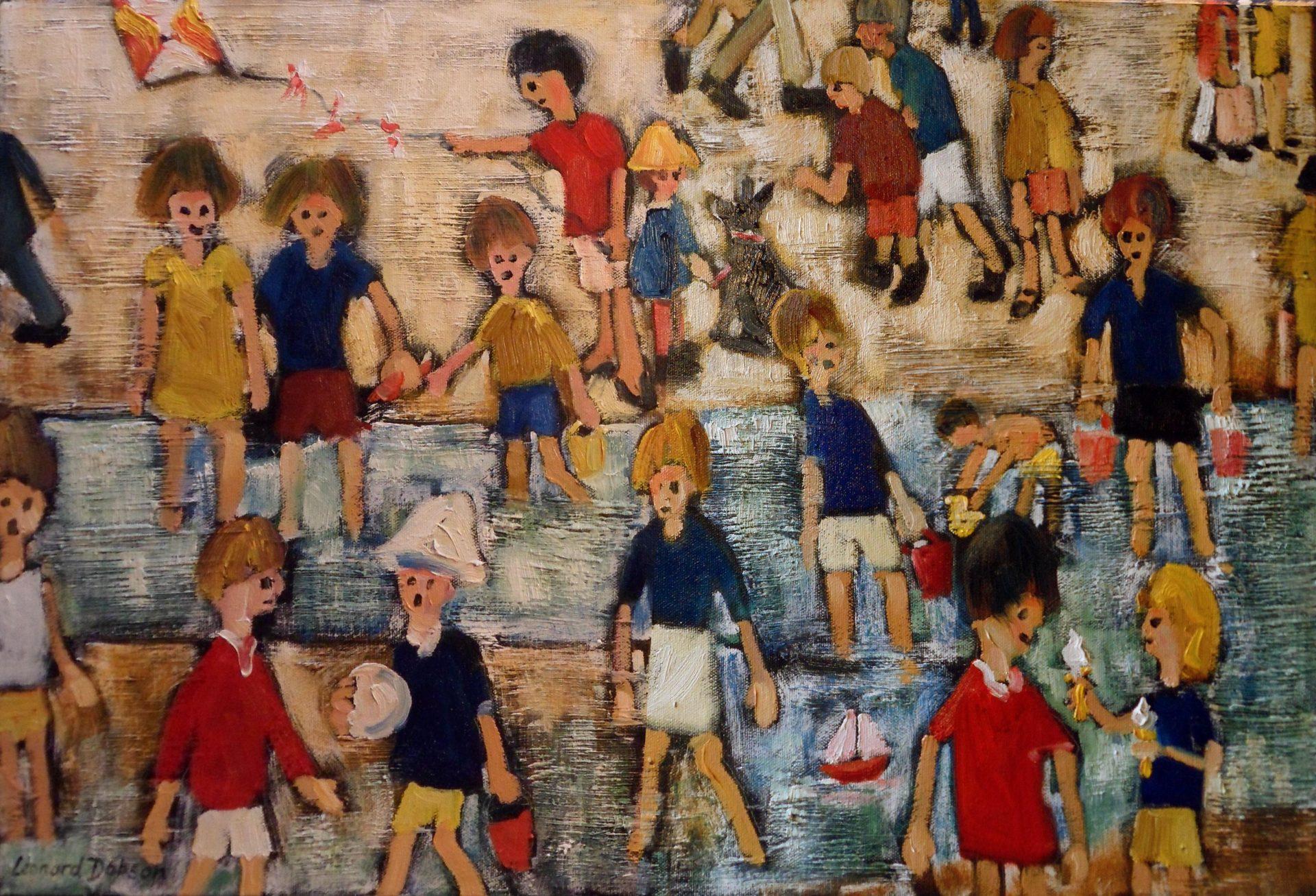 Leonard Dobson Beside the Seaside beach painting for sale