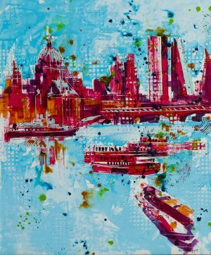 Richard Knight Blue Thames modern london painting for sale