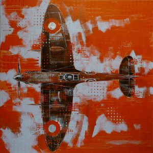 Richard Knight Orange Spitfire metal aeroplane print for sale
