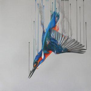 Fire & Water Louise McNaught unframed Dynamic Bird Artwork