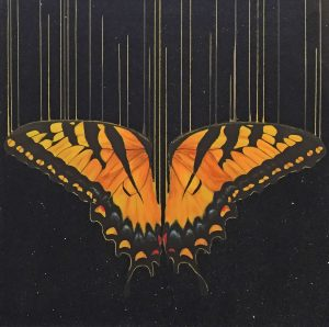 Louise McNaught Kissed By The Black Sun butterfly art glittery for sale