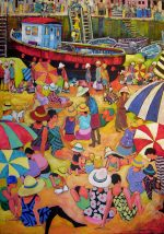 Leonard Dobson A Place In The Sun seaside painting for sale