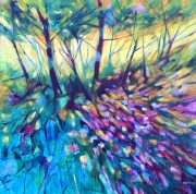 David Brett Autumn Fractals purple blue woodland art for sale