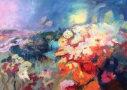 Jane Upstone Dreamscape abstract floral painting for sale