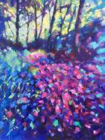 David Brett Into The Woods purple blue landscape art