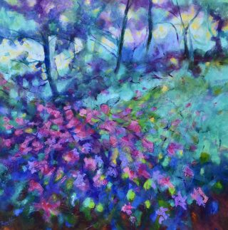 David Brett Magenta Fractals abstract impressionist art for sale