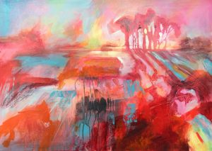 Jane Upstone Red Landscape abstract colour painting for sale