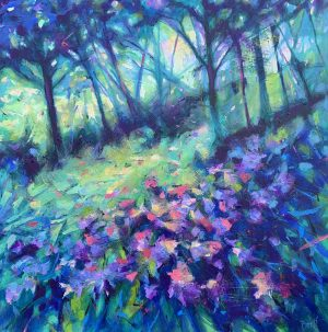 David Brett Spring Woods impressionist meadow painting for sale