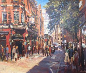 John Hammond Summer In The City street painting for sale