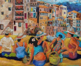 Leonard Dobson Sunny Sicily italy seaside painting for sale