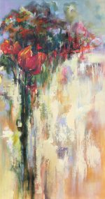 Jane Upstone Wandering II abstract floral tree painting for sale