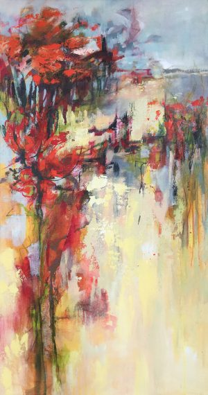 Jane Upstone Wandering I abstract floral painting for sale