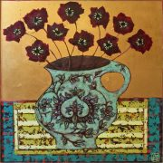 Emma Forrester Crimson Blooms flowers in vase art for sale
