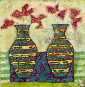 Emma Forrester Striped Vases modern still life artwork for sale