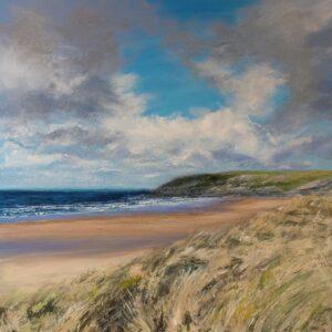 Grace Ellen Summer Swell Holywell beach painting for sale