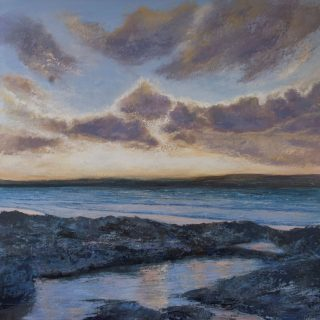 Grace Ellen Sunset Pool Gwithian cornish sunset art for sale
