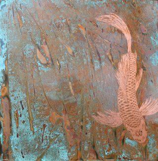 Paul Fearn Aquamarine II copper plate koi artwork