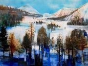 Celia Wilkinson En Route To St Moritz abstract mountain painting for sale
