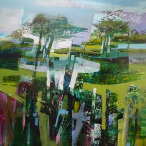 Celia Wilkinson Harmonious blue green purple landscape art for sale