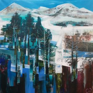 Celia Wilkinson Off Piste abstract alps painting for sale