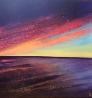 Frances Jordan Flamed Sea and Sky colourful sunset painting for sale