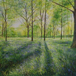 Grace Ellen Bursting Light, Bluebells painting for sale