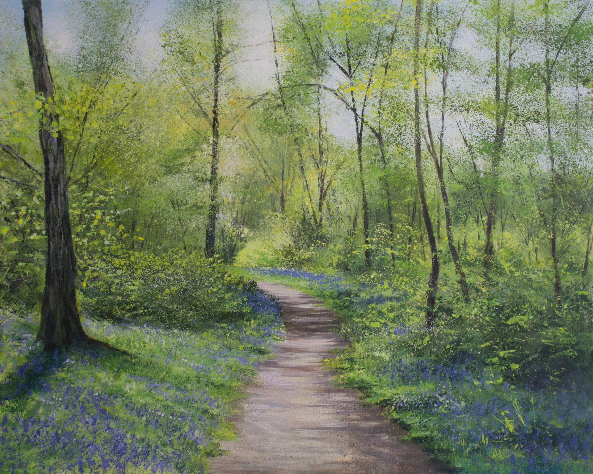 Grace Ellen Through the Bluebells woodland painting for sale