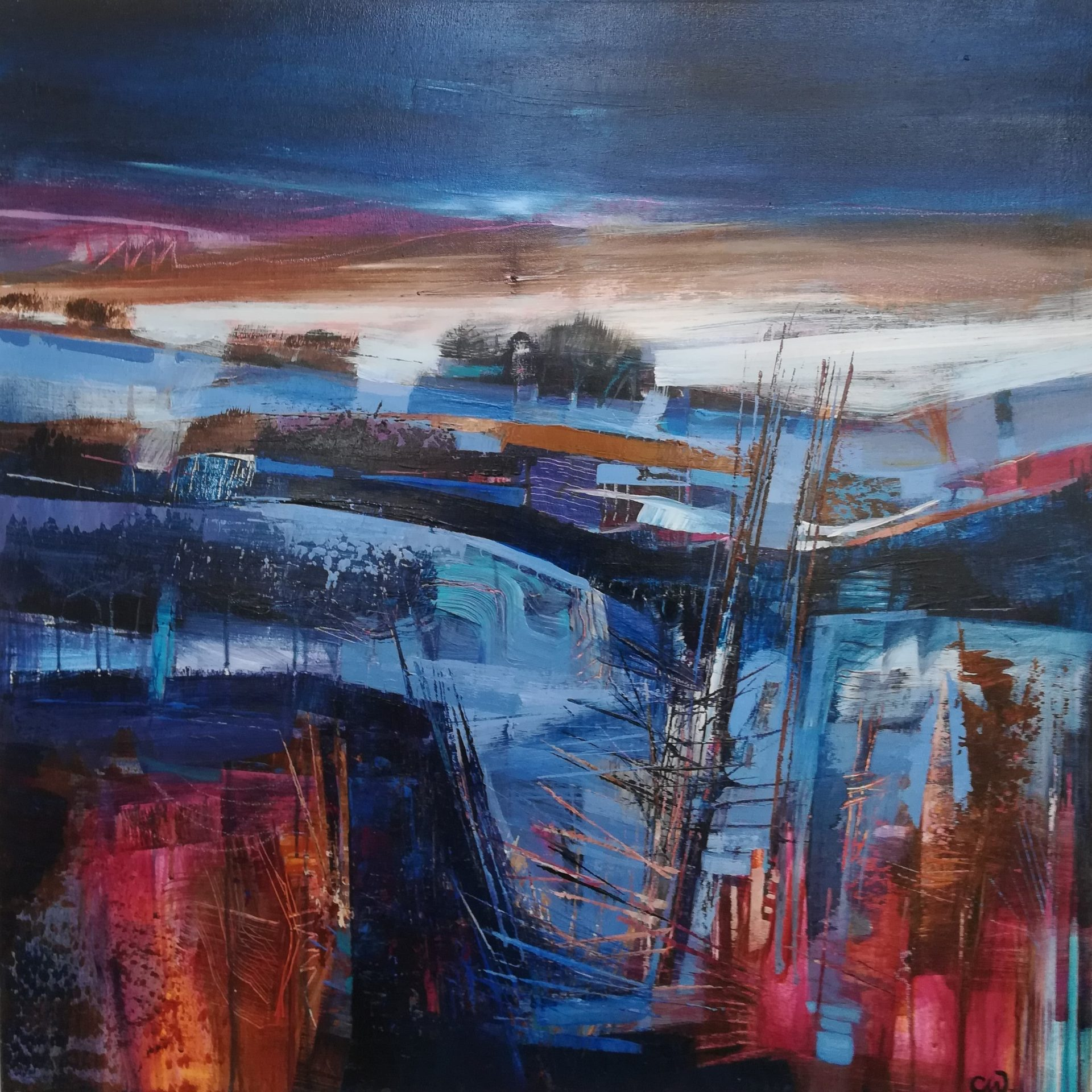 Celia Wilkinson Evening Light abstract sunset painting for sale