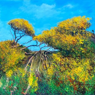 John Connolly Gorse Gold colourful landscape painting for sale