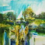 Celia Wilkinson Light Shower abstract landscape painting for sale