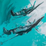 Richard Knight Spitfires Ascending aeroplane painting for sale