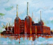 Richard Knight Battersea Chimneys cityscape painting for sale