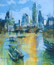RK0379 Boats Barges and the City 59x49cm Copy