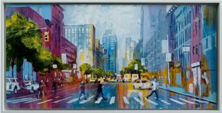 RK0389 sixth avenue crossing 34x70cm Framed