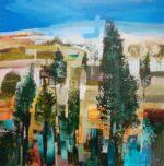 Celia Wilkinson The Hill contemporary landscape art for sale