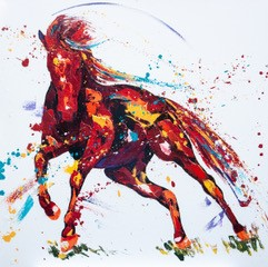 Penny Warden Platinum modern horse oil painting for sale