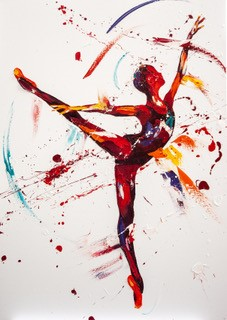 Penny Warden Sparkle dynamic red ballerina painting for sale
