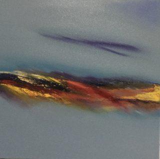 Frances Jordan Sunset Cloud 40x40cm abstract sunset painting for sale