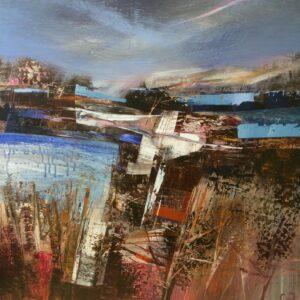 Celia Wilkinson Unyielding modern blue landscape art for sale